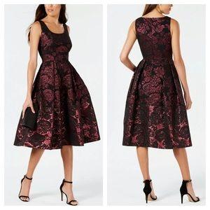 Ivanka Trump Metallic Jacquard Fit & Flare Dress